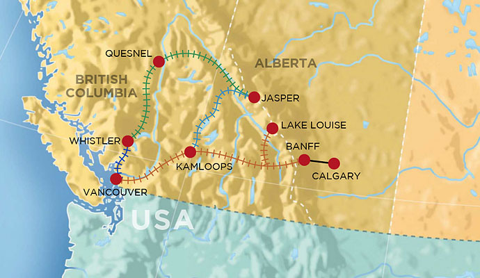 Map Of Rockies Canada Canadian Train Routes Through The Rockies