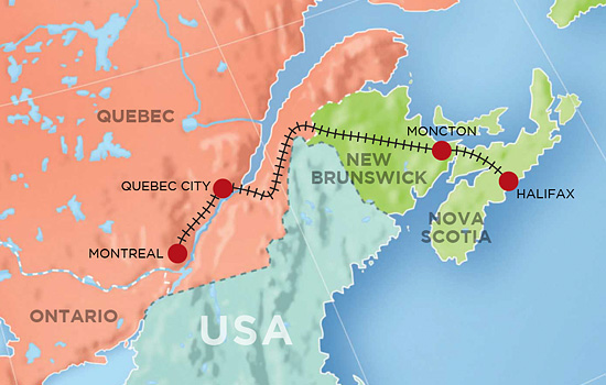 Montreal to Halifax Train - Itineraries With Prices on quebec city canada map, montreal to miami map, montreal to vancouver map, quebec city tour map, quebec city tourist map, montreal pq, montreal to prince edward island map, quebec city street map, montreal to boston map, quebec city attractions map, montreal to newfoundland map, montreal to paris map, lower town quebec city map, montreal to albany map,